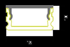 3m Einbauprofil silber mit Abdeckung satiniert 19x10mm (Set zu je 20 stk.)