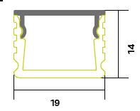 3m Einbauprofil silber mit Abdeckung satiniert 19x14mm (Set zu je 20 stk.)